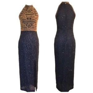 Vintage SCALA Beaded Formal Dress - Medium